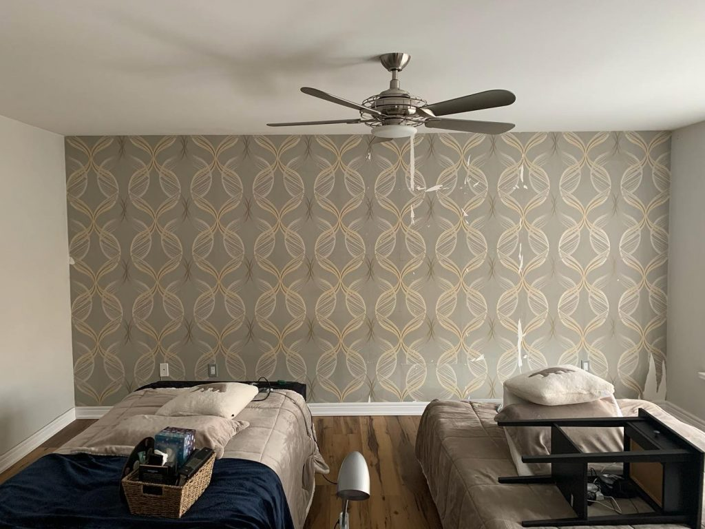 Wallpaper installation and removal service -Before - OnBudget Painting